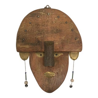 16th Century Primitive Brass and Wood Scandinavian Mask For Sale