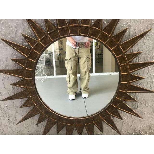 Hollywood Regency Gilt Metal Starburst Mirror For Sale - Image 3 of 5