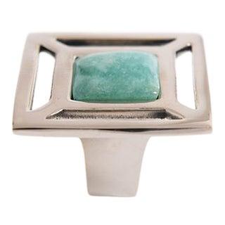 Addison Weeks Evans Custom Knob - Polished Nickel & Amazonite For Sale