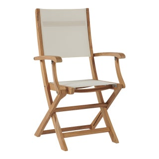 Stella Teak Outdoor Folding Armchair in White Textilene Fabric For Sale