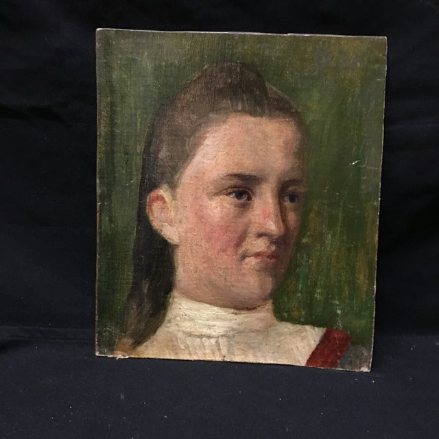 19th Century Young Girl Oil Painting - Image 4 of 5