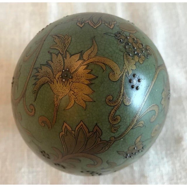 Green & Gold Egg With Floral Raised Details For Sale In Dallas - Image 6 of 9