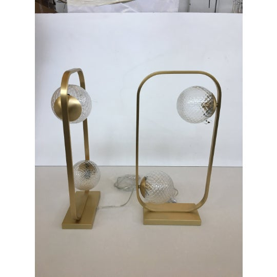 Lot of 2 Vintage style table lamp in brushled gold and murano glass balls Bids are for 2 table lamps Murano glass...