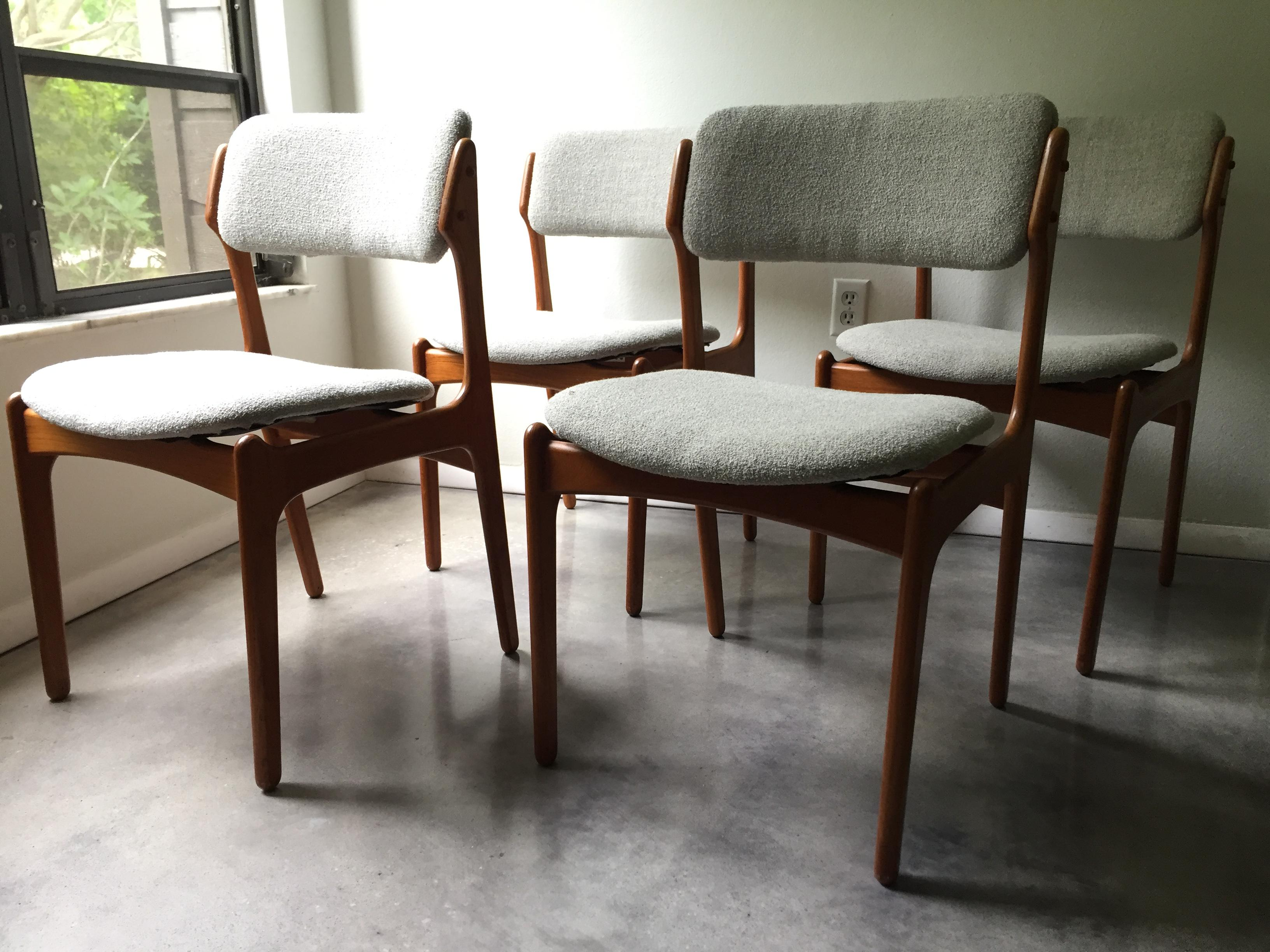 Vintage Erik Buck O D Mobler Danish Dining Chairs Set of 4