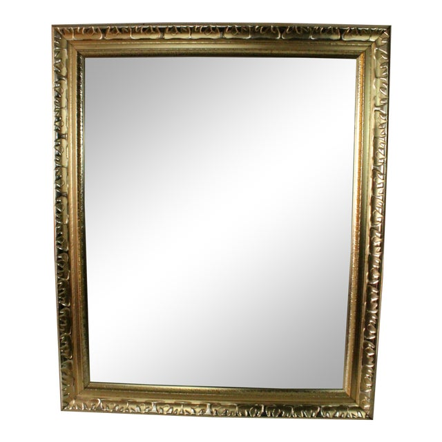 Contemporary Beveled Gold Nugget Framed Mirror For Sale