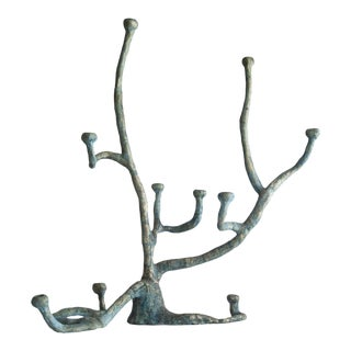 Extra large Elephant Skin candelabra in cast bronze with blue patina For Sale