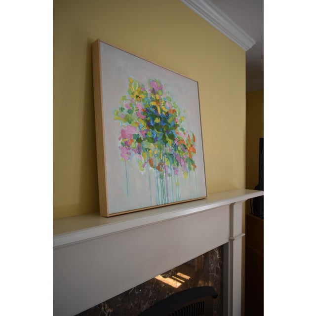 """Canvas Abstract """"Bouquet on Light Gray Ground"""" Painting by Stephen Remick For Sale - Image 7 of 11"""
