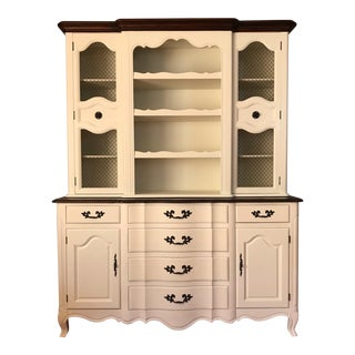 Restored Fancher Off-White China Cabinet For Sale