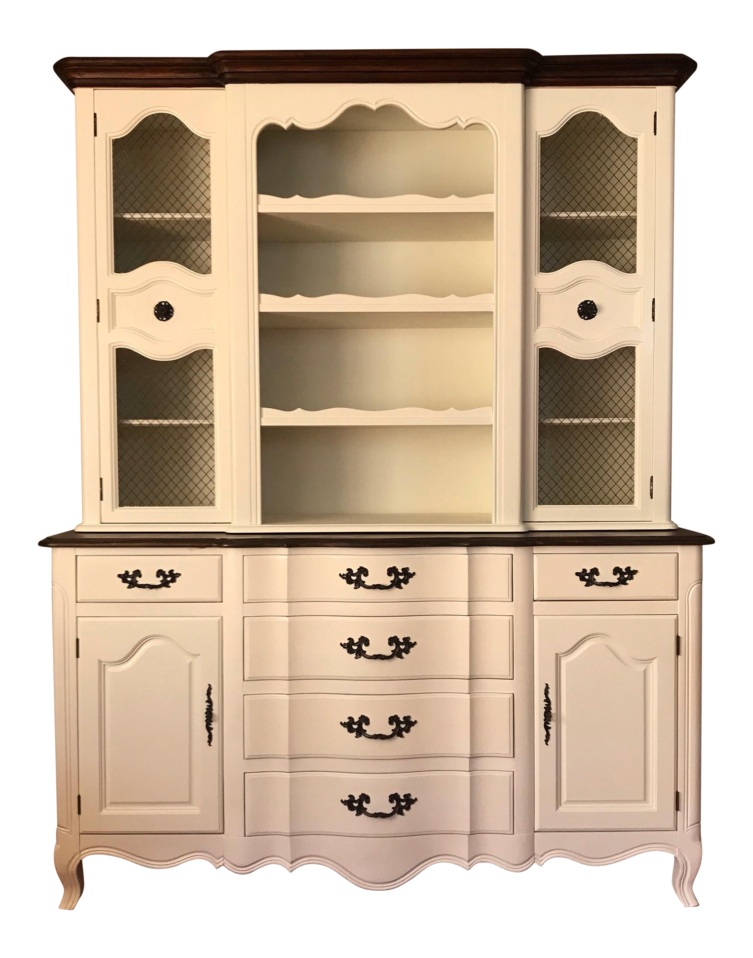 Restored Fancher Off White China Cabinet
