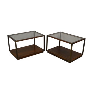 Lane Campaign Style Mid Century Modern Rosewood and Walnut Glass Top Pair Side Tables For Sale