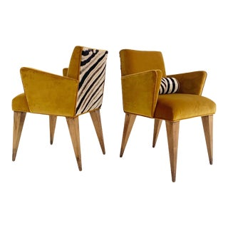 Mexican Modernist Chairs in Loro Piana Velvet and Zebra Hide, Pair For Sale
