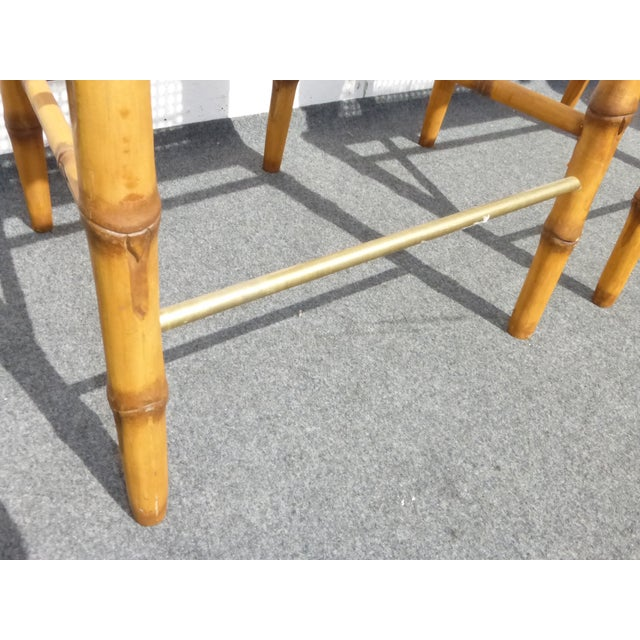 Faux Bamboo Bahama Style Bar Stools - A Pair For Sale - Image 10 of 11