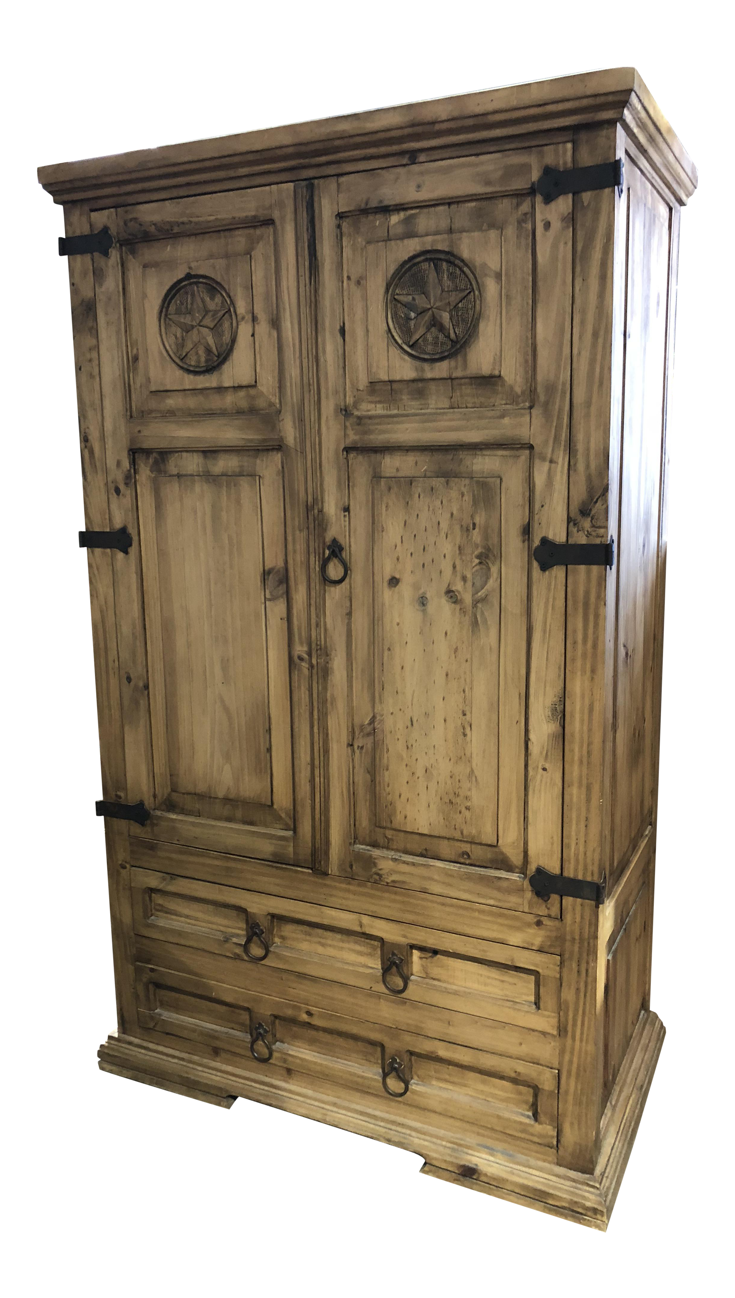 Superb Solid Oak Amish Or Texas Star Armoire