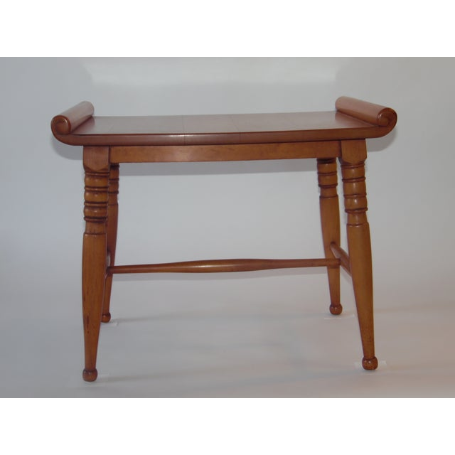 Mid- Century Wood Light Brown Color Bench - Image 2 of 11