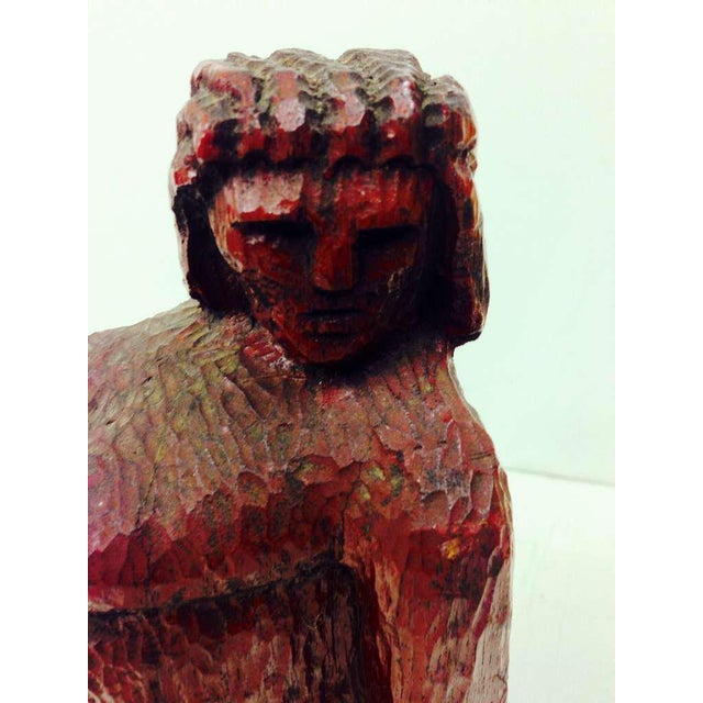 Red Nude Woman Wooden Figure For Sale - Image 8 of 9