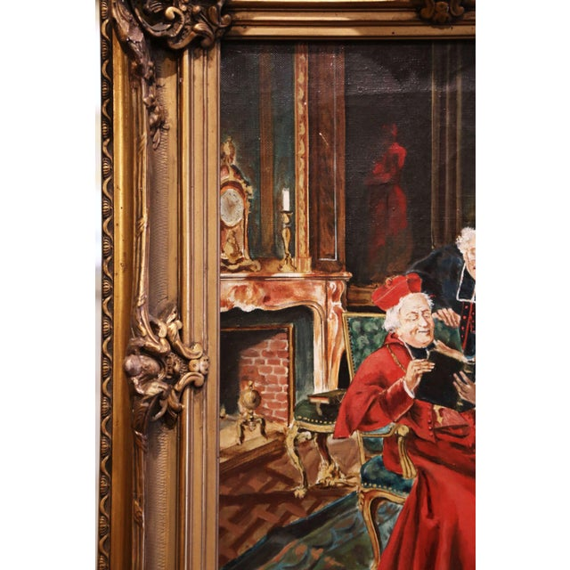 19th Century French Priest Oil Painting in Carved Giltwood Frame Signed M. Valle For Sale In Dallas - Image 6 of 9