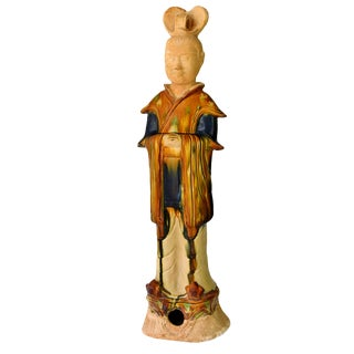 """Chinese 27"""" Tall Terracotta Court Official, San Cai Pottery Figure For Sale"""