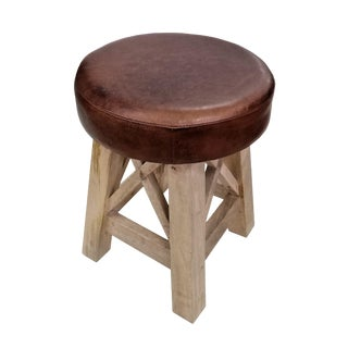 Brown Leather Cushioned Stool For Sale