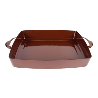 Vintage Dansk Kobenstyle Brown Enamel 13-Inch Baking Dish For Sale
