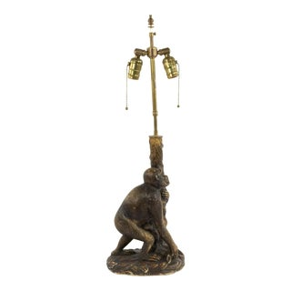English Victorian Style Porcelain Monkey Table Lamp For Sale