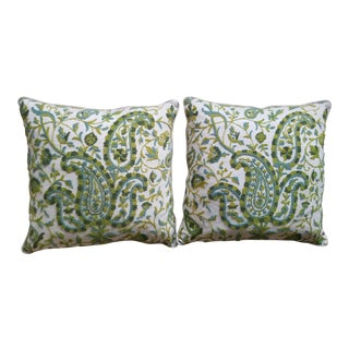 Modern Custom Paisley Crewel Pillows- A Pair For Sale