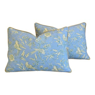 "Scalamandre Aviary Linen & Velvet Feather/Down Pillows 25"" X 18"" - Pair For Sale"