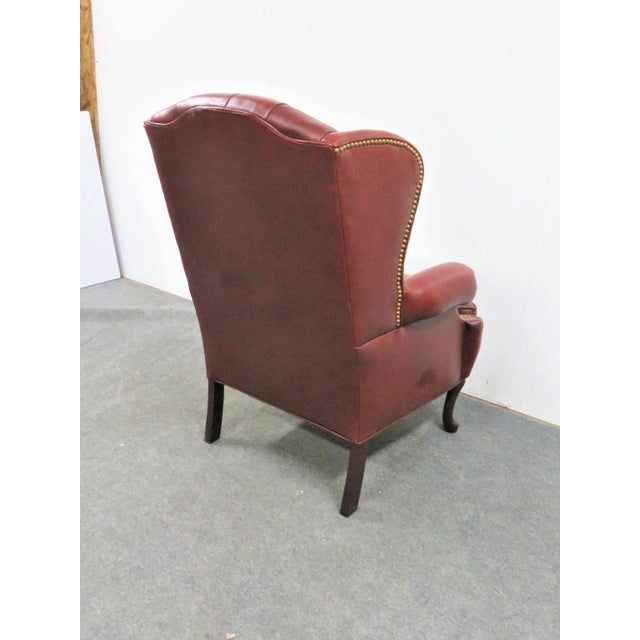 Queen Anne Hickory LeatherTufted Queen Anne Style Wing Chair For Sale - Image 3 of 7
