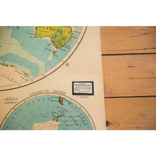 Vintage crams pull down map of world hemispheres chairish vintage crams pull down map of world hemispheres image 5 gumiabroncs Choice Image