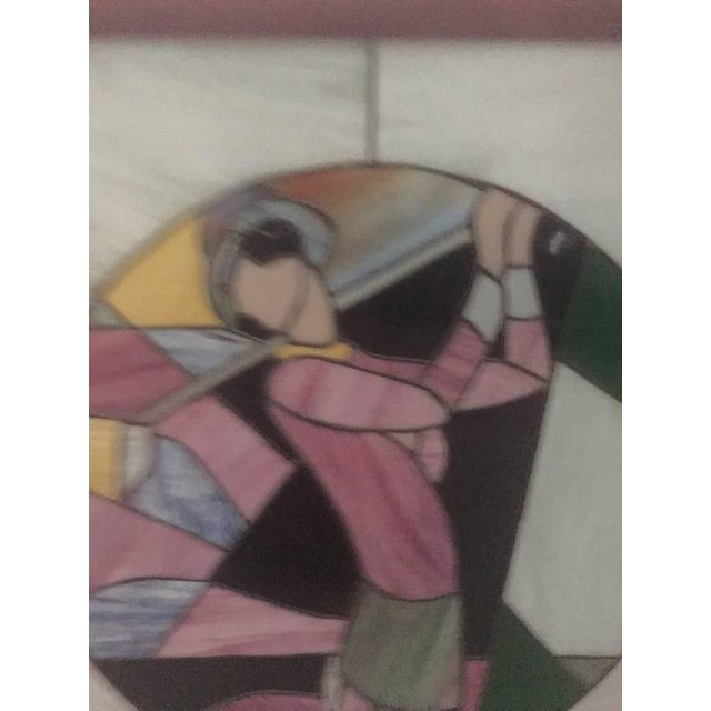 Pink Signed Art Deco Stained Glass Woman Golfer For Sale - Image 8 of 9