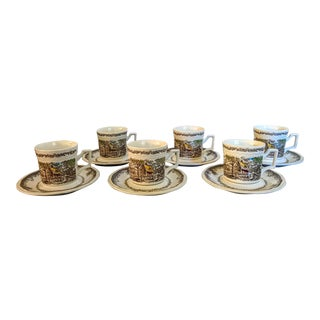 An Everyday Gift : 1960s Kensington Stafford Ironstone Shakespeare Sonnets Tea Set - Service for 6 For Sale