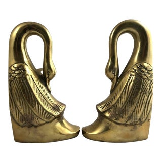 Vintage Hollywood Regency Style Brass Swan Bookends - a Pair For Sale