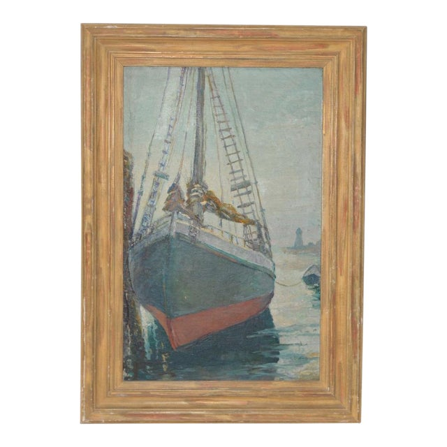 """Unidentified Impressionist """"Starboard Bow at Harbor"""" Oil Painting C.1940s For Sale"""