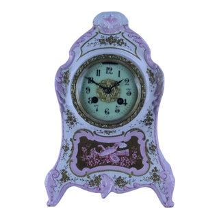 Pink Vintage Porcelain Mantle Shelf Clock Floral Design For Sale
