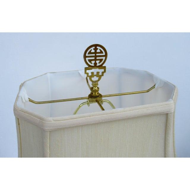 C1950s-70s Hollywood Regency Era, James Mont-Style Asian Antique Bronze Lamp For Sale - Image 12 of 13