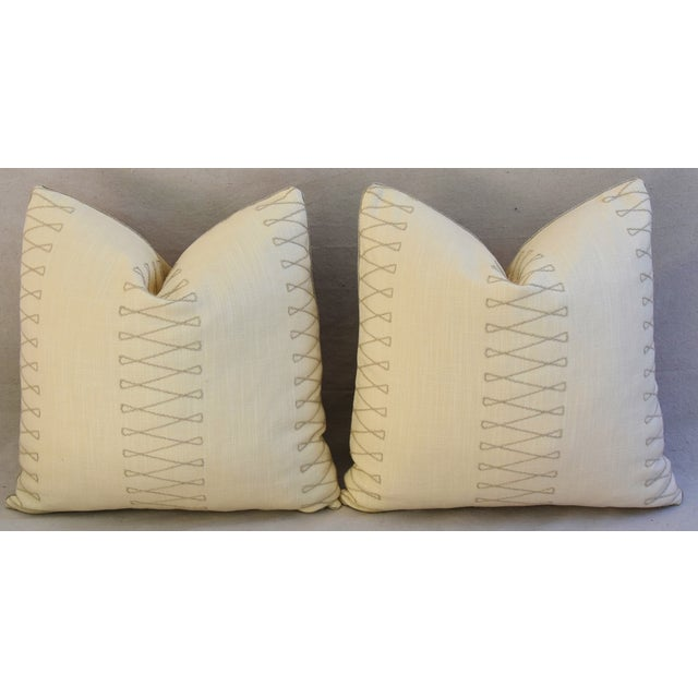 "Early 21st Century Designer Old World Weavers Cuba Libre Feather/Down Pillows 20"" Square - Pair For Sale - Image 5 of 8"