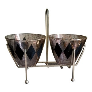 1950s Vintage Double Harlequin Glass Bowls & Metal Holder - 3 Pieces