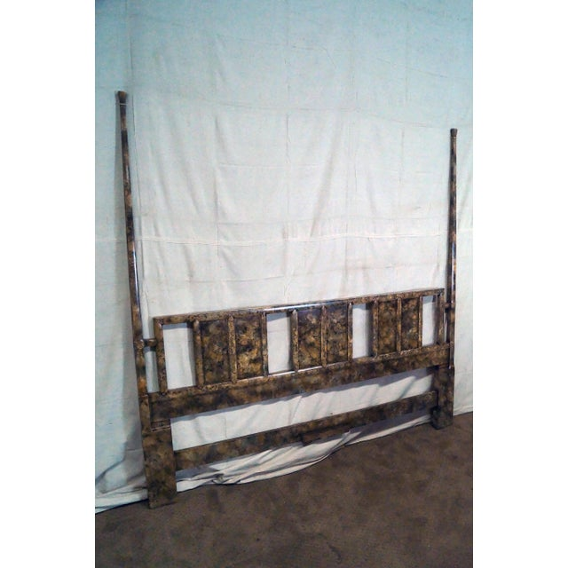 Henredon Mid Century Faux Tortoise Shell Painted King Size Poster Headboard - Image 7 of 10