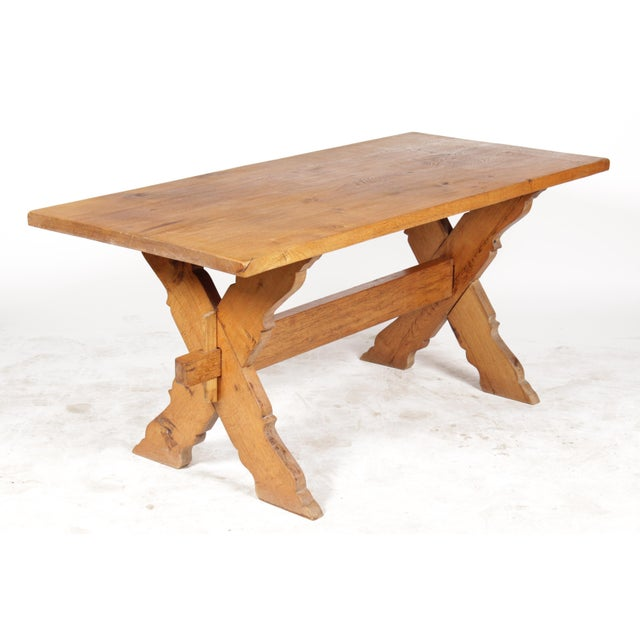 French Country-Style Trestle Table - Image 4 of 8
