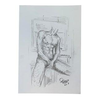 """Bathroom III"" Drawing by Alex Baker For Sale"