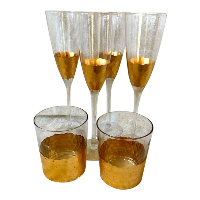 1970s West Elm Honeycomb Pattern Fluted Champagnes Old Fashions - Set of 6 For Sale