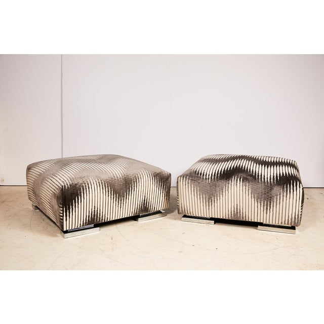 Pair of Midcentury Chrome Footed Ottomans in Jim Thompson Fabric For Sale - Image 12 of 13