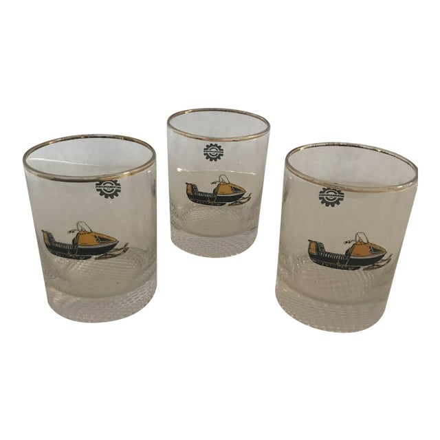 Vintage 1970s Bombardier Snow Mobile Double Old Fashion Glasses - Set of 3 For Sale