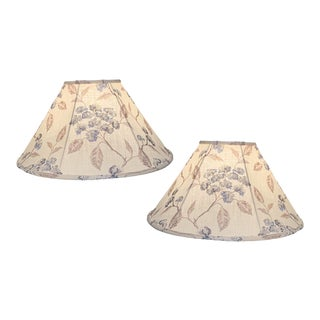 Custom Flat Illumé Floral Embroidered Lamp Shades - a Pair For Sale