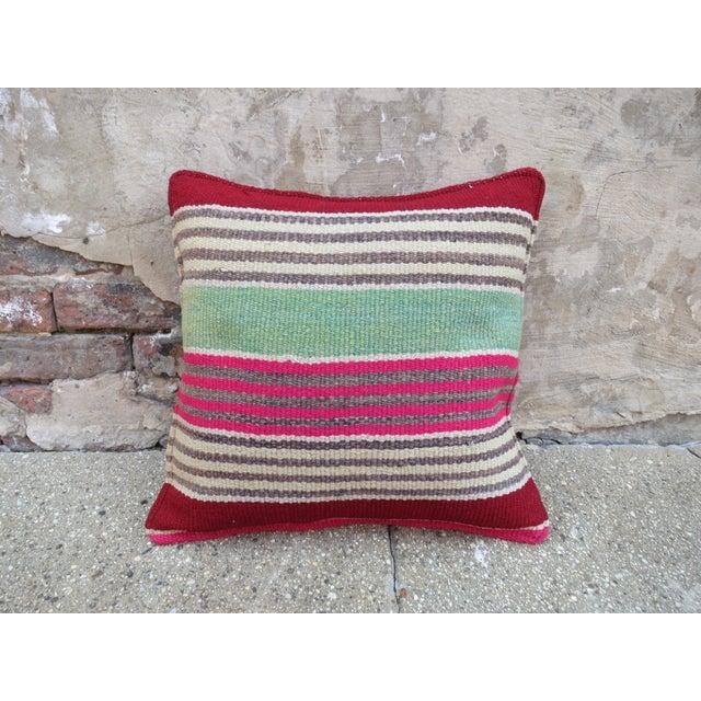 Pink & Green Peruvian Frazada Pillow - Image 2 of 3