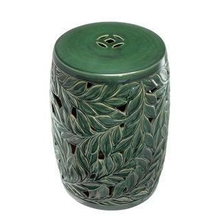 Dorian Green Ceramic Drum Table For Sale