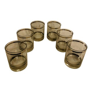 Georges Briard Silver Mirror Pin Stripe Low Ball Glasses - Set of 6 For Sale