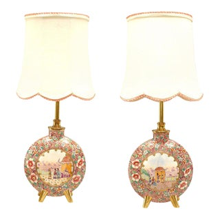 English Victorian Porcelain Table Lamps - a Pair For Sale