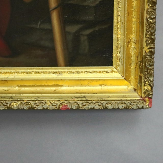 Late 19th Century Antique Italian Oil on Canvas Old Master of Del Sarto's John the Baptist Painting For Sale - Image 6 of 10