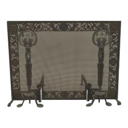 American Arts and Crafts wrought iron and bronze fire place andirons and screen