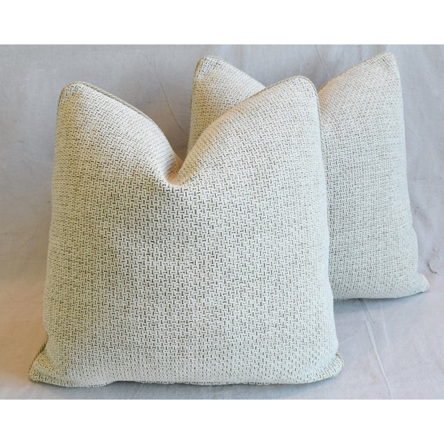 """Creamy Italian Tanned Leather Feather/Down Pillows 21"""" Square - Pair For Sale - Image 10 of 13"""